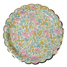 8 grandes assiettes plates en carton Liberty Poppy Daisy Meri Meri