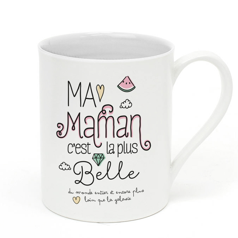 mug en porcelaine ma maman c 39 est la plus belle little marmaille. Black Bedroom Furniture Sets. Home Design Ideas