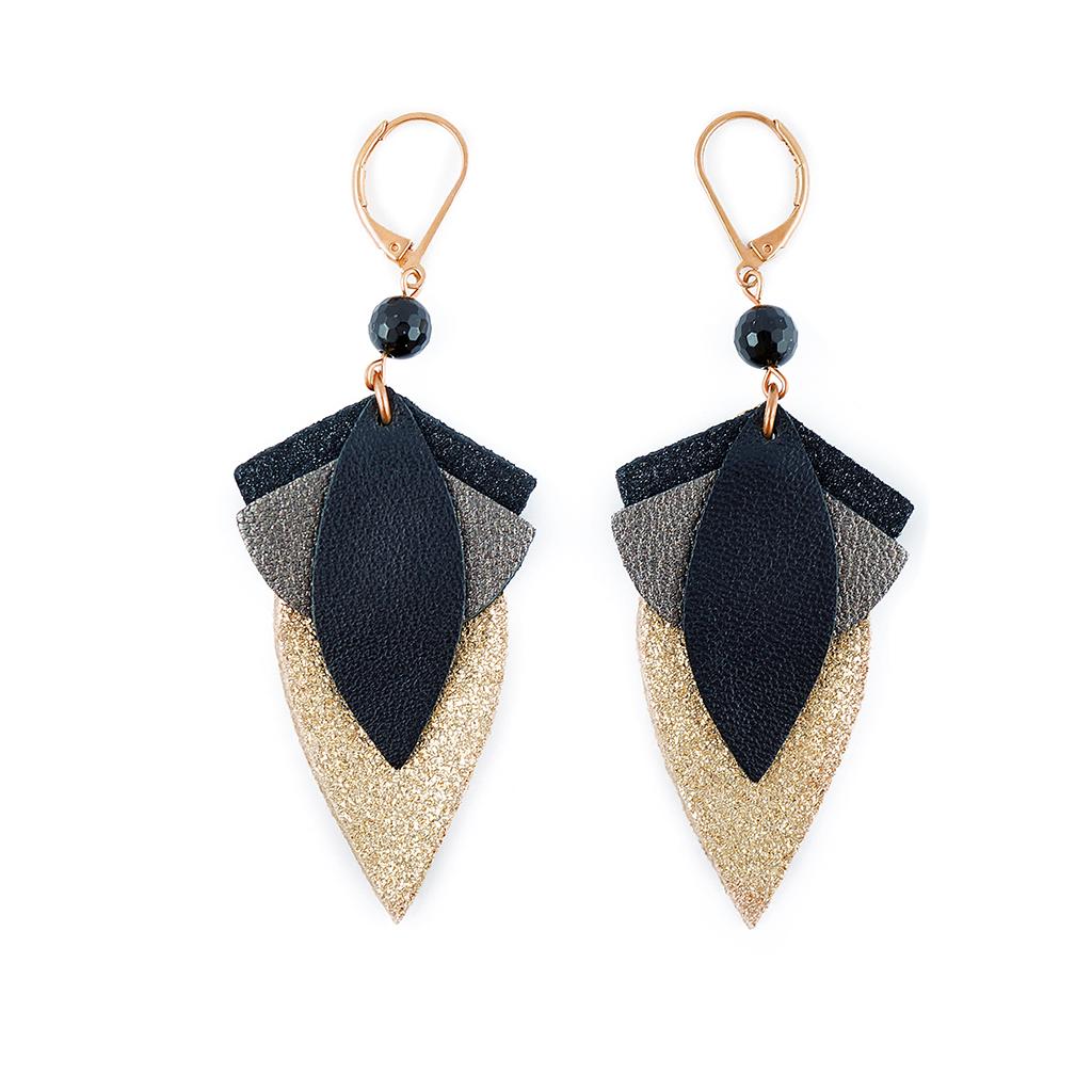 boucles d 39 oreilles grand lotus noir little marmaille. Black Bedroom Furniture Sets. Home Design Ideas