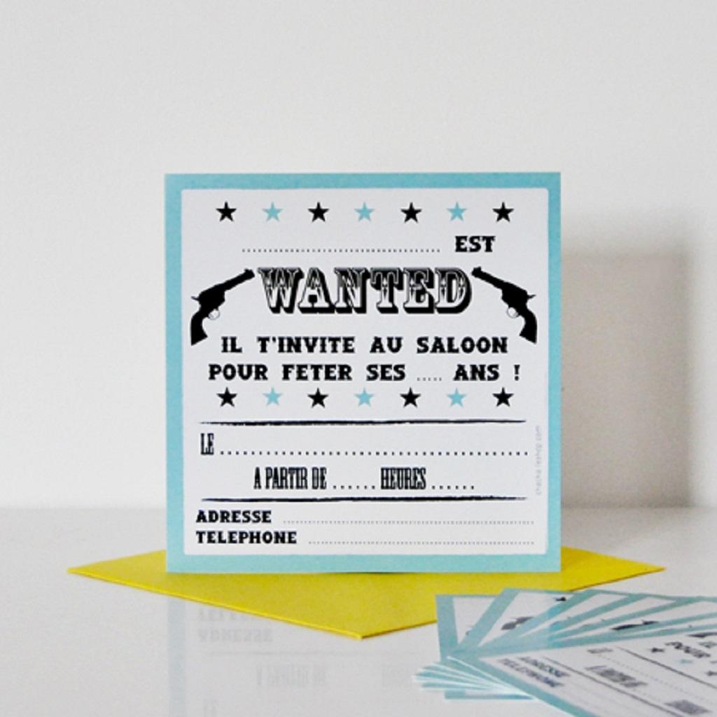 8 Cartons d'Invitation - Cowboy - Little marmaille