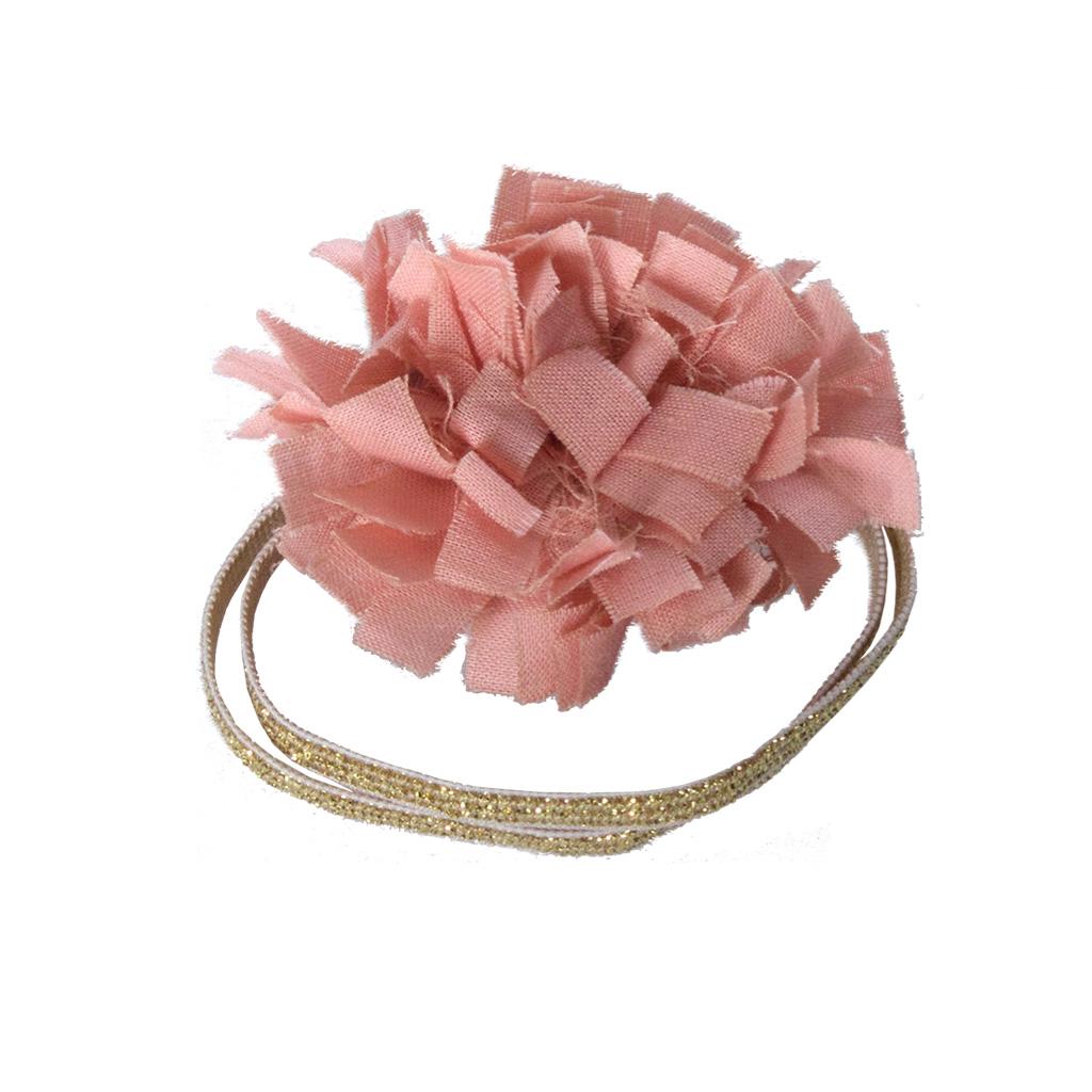 lastique cheveux pompon en tissu rose little. Black Bedroom Furniture Sets. Home Design Ideas