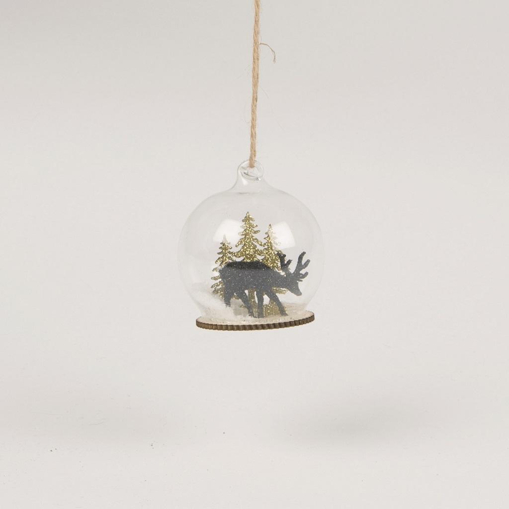 Boule De Noel Transparente A Decorer décoration de sapin - boule de neige renne noir et or