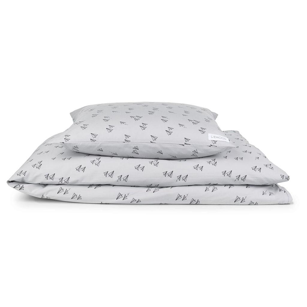 parure de lit avion en papier gris little marmaille. Black Bedroom Furniture Sets. Home Design Ideas