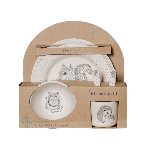 Set de vaisselle en bambou animaux de la for t little for Bambous artificiels pour exterieur