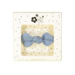 barrette en lin noeud bleu ciel obi obi