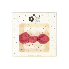barrette en lin nœud rose fraise obi obi