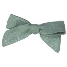 Barrette retro avec noeud en lin menthe