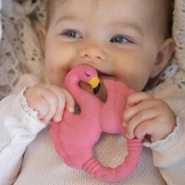 anneau flamant rose avec bébé