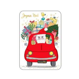 Carte Joyeux Noël - Père Noël dans sa voiture rouge