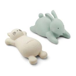 jouet de bain lapin et chat vert et crème liewood