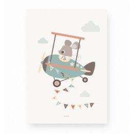 Affiche souris pilote d'avion lutin petit pois
