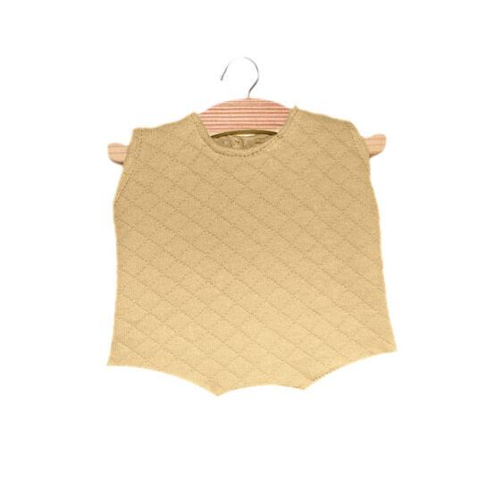 Body beige en coton surpiqué - Minikane