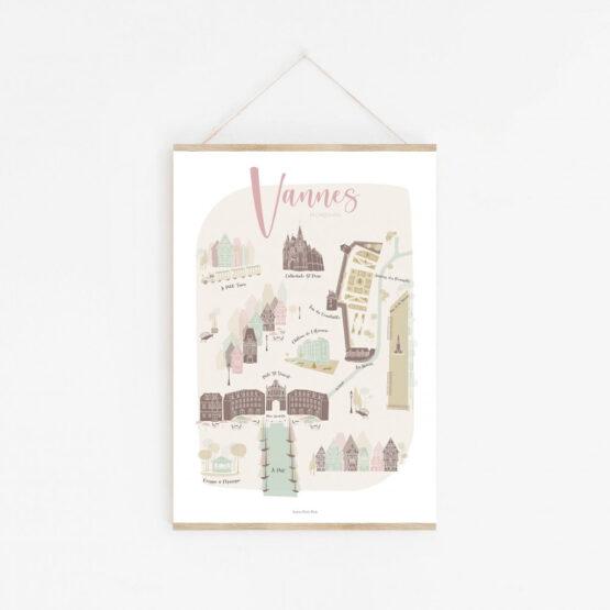 Affiche ma jolie ville de Vannes avec barre magnétique