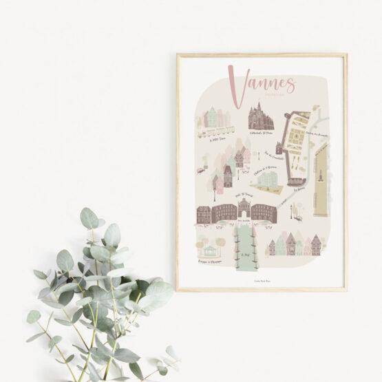 Affiche ma jolie villes de Vannes encadrée