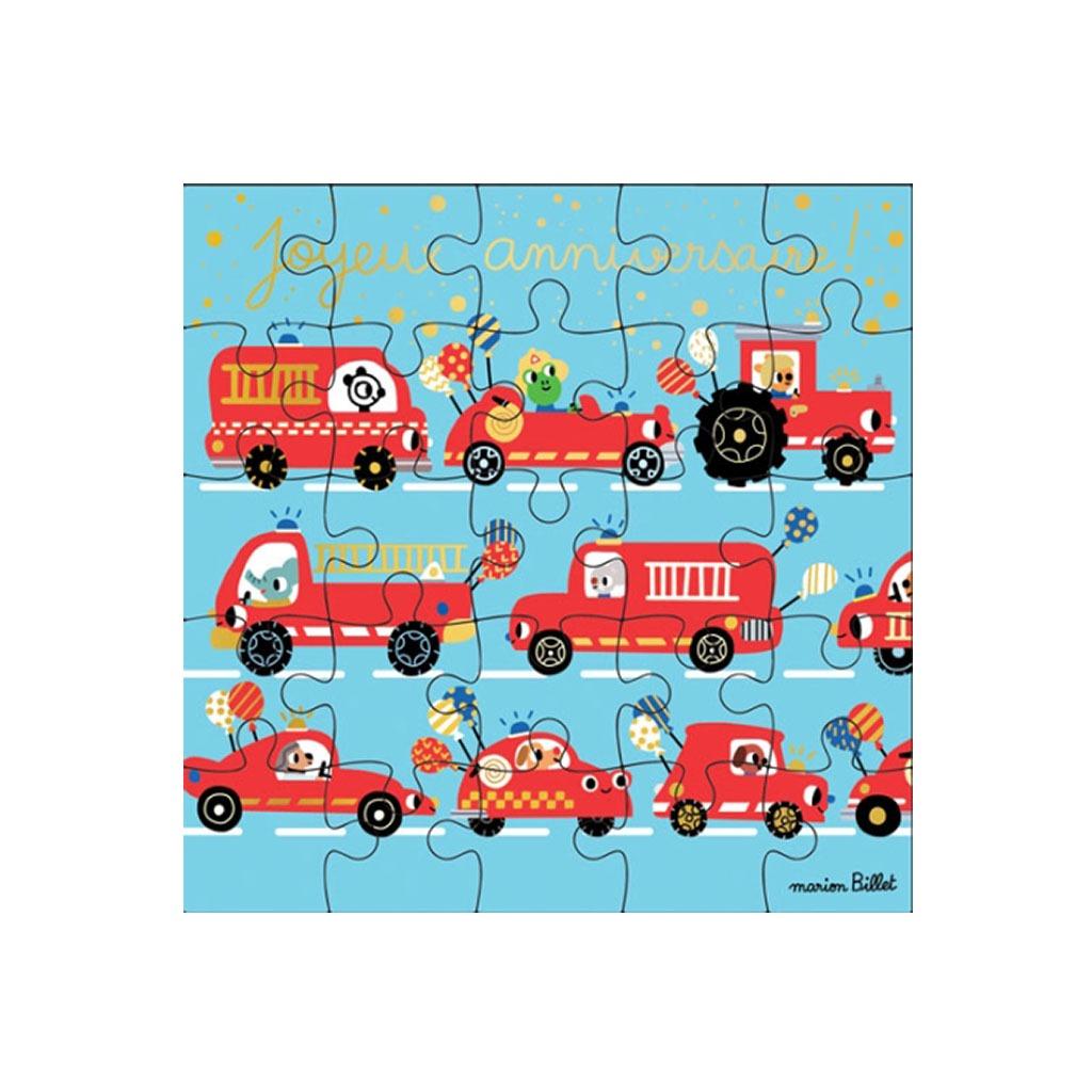 Carte Puzzle Joyeux Anniversaire Pompier Little Marmaille