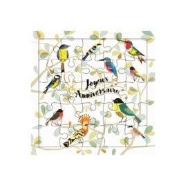 carte puzzle anniversaire oiseau