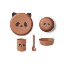 Set Vaisselle Panda Rose Et Noir
